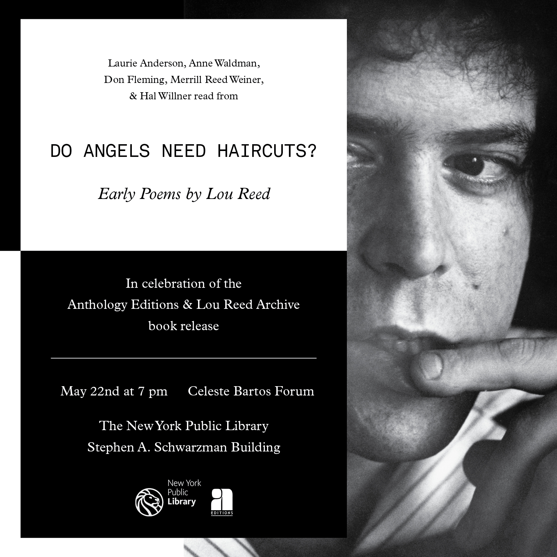 Lou Reed - Do Angels Need Haircuts? Release event flyer