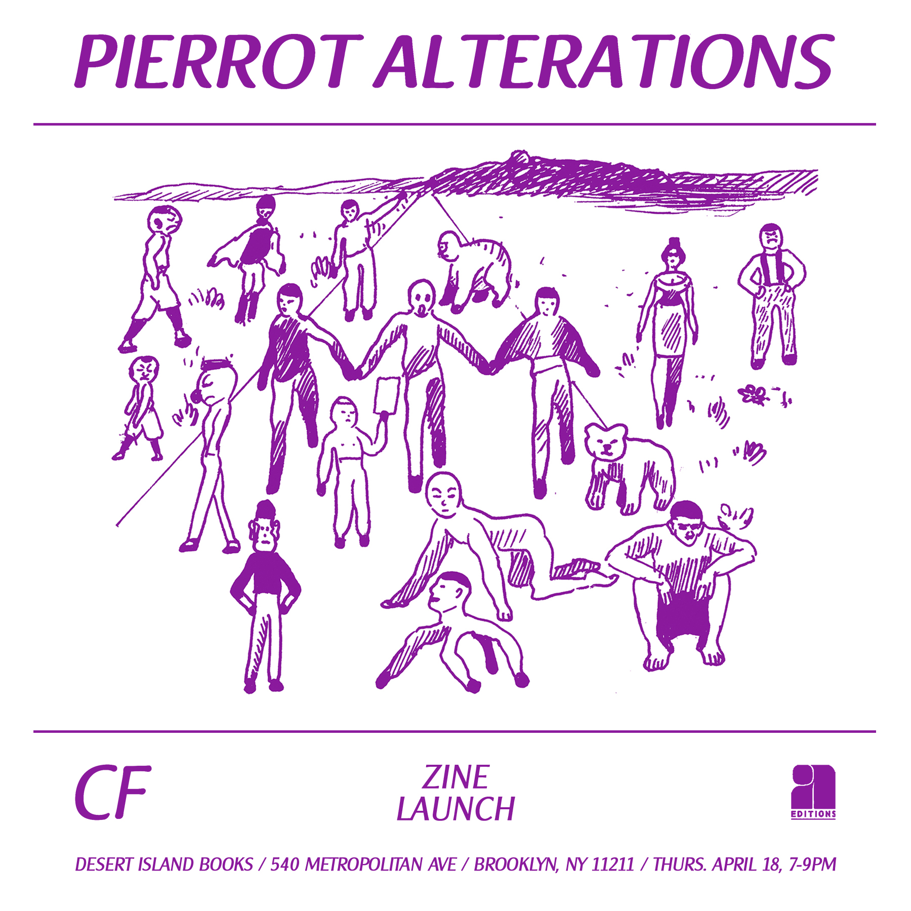 CF Pierrot Alterations Desert Island Comics Zine Launch Poster